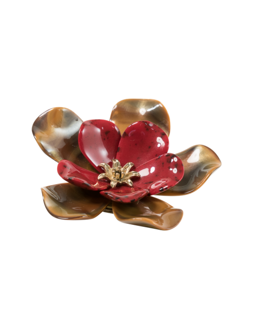 Red Acrylic Floral Brooch