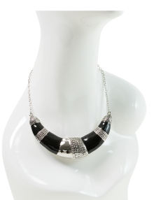 Black & Silver Crescent Necklace