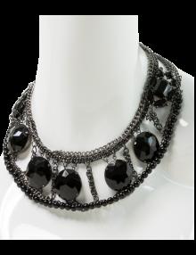 Round Gunmetal Jewel Collar Necklace