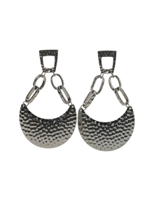 Textured Gunmetal Drop Earrings